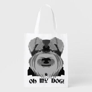 Niedlicher Schnauzer oh mein Hund Wiederverwendbare Einkaufstasche