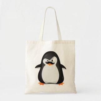 Niedlicher Schwarz-weißer Penguin und lustiger Sch Budget Stoffbeutel
