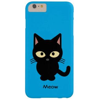 Niedlicher schwarze Katze Meow-Cartoon Barely There iPhone 6 Plus Hülle