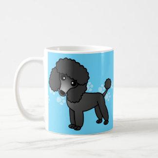 Niedlicher schwarzer Pudel-Cartoon Kaffeetasse