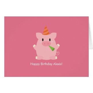 Niedlicher Schwein-Geburtstag Karte