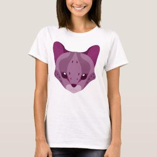 Niedlicher Serval-Kopf-Logo-T - Shirt lila