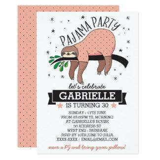 Niedlicher Sloth-erwachsene Pyjama-Party Einladung