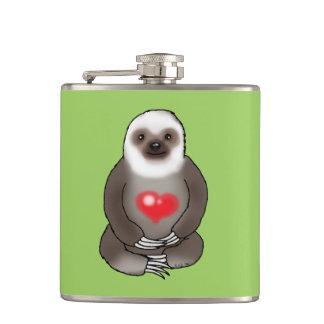 niedlicher Sloth mit rotem Herzen Flachmann