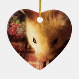 Niedlicher syrischer Hamster Keramik Herz-Ornament