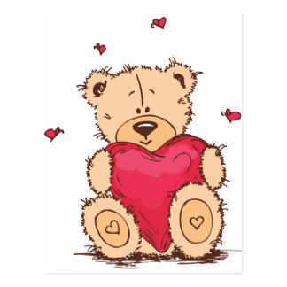 Niedlicher teddy-Bär des Valentines Tages Postkarte