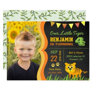 Niedlicher Tiger scherzt Foto-Geburtstags-Party 12,7 X 17,8 Cm Einladungskarte
