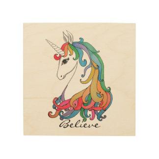 Niedlicher Unicorn Regenbogen des Watercolor Holzleinwand