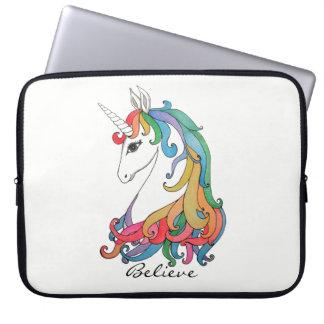 Niedlicher Unicorn Regenbogen des Watercolor Laptopschutzhülle