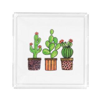 Niedlicher Watercolor-Kaktus in den Töpfen Acryl Tablett