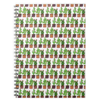 Niedlicher Watercolor-Kaktus in den Töpfen Notizblock
