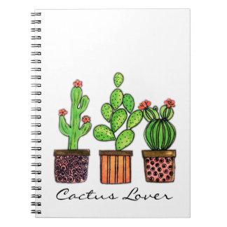 Niedlicher Watercolor-Kaktus in den Töpfen Spiral Notizblock