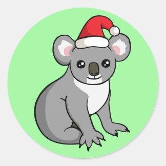Niedlicher Weihnachtskoala in der Runder Aufkleber