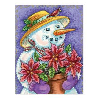 Niedlicher WeihnachtsmädchenSnowman mit Poinsettia Postkarte