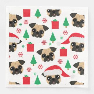 Niedlicher WeihnachtsMops Papierservietten