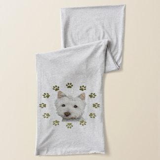 Niedlicher Westie Hund und Tatzenkunstschal Schal