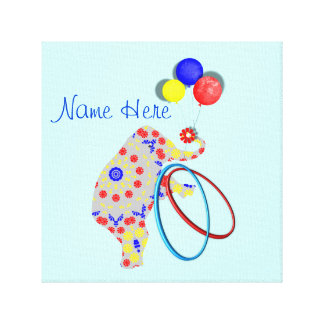 Niedlicher Zirkus-Elefant-roter blauer gelber Kind Leinwanddruck