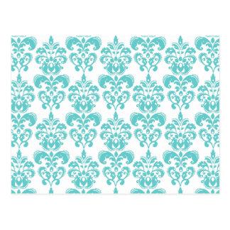 Niedliches aquamarines weißes Vintages Postkarten
