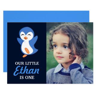 Niedliches blaues Penguin-Baby-Jungen-erstes 12,7 X 17,8 Cm Einladungskarte