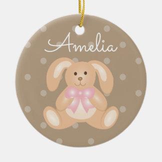 Niedliches Cuddly rosa Band-Häschen-Kaninchen Keramik Ornament