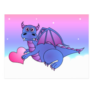 Niedliches Drache-Herz-Postkarten-Blau - Rosa - Postkarte