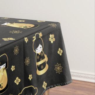 Niedliches elegantes schwarzes Goldjapanische Tischdecke