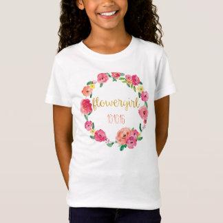 Niedliches Flowergirl Goldblument-stück T-Shirt