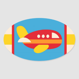 Niedliches Flugzeug-Transport-Thema scherzt Ovaler Aufkleber
