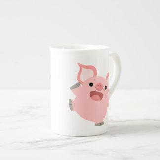 Niedliches freudiges Cartoon-Schwein Prozellantasse
