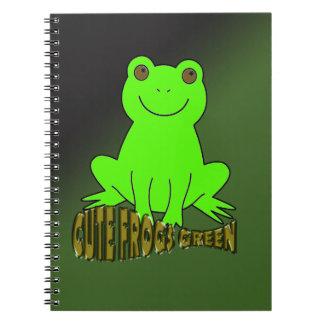 Niedliches Frosch-Grün mit Hintergrund Spiral Notizbücher