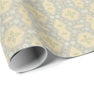 Niedliches gelbes und graues Vintages Geschenkpapier