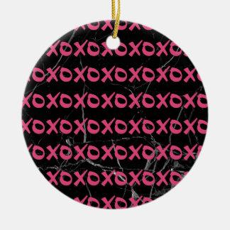 Niedliches girly Schwarzmarmor xoxo des heißen Keramik Ornament