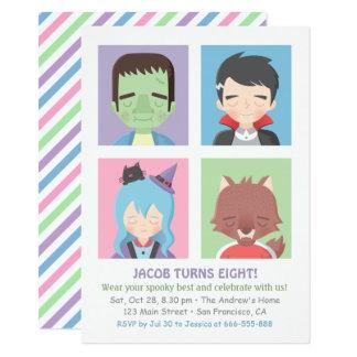 Niedliches Halloween-Monster scherzt Party Karte