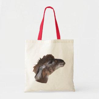 Niedliches Lama-Gesichts-Vieh Budget Stoffbeutel
