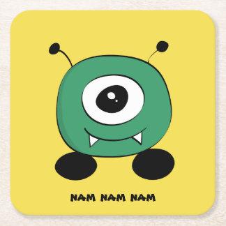 Niedliches lustiges grünes alien rechteckiger pappuntersetzer