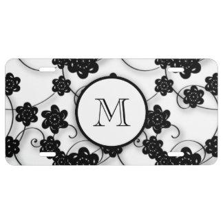 Niedliches Mod-Schwarz-Blumen-Muster, Ihre US Nummernschild