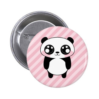 Niedliches Panda-Bärn-Rosa Stripes Hintergrund Runder Button 5,1 Cm