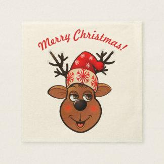 Niedliches Ren mit Weihnachtshut Papierserviette