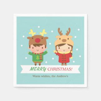 Niedliches Ren scherzt frohe Weihnacht-Party Servietten