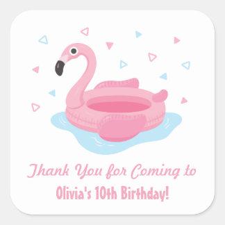 Niedliches rosa Flamingo-Pool-Floss danken Ihnen Quadrat-Aufkleber