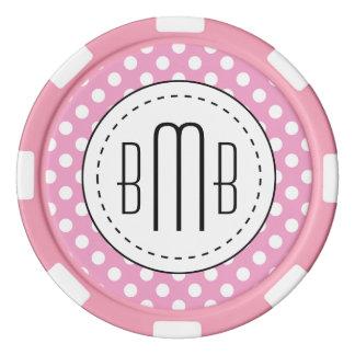 Niedliches rosa Polka-Punkt-Muster Poker Chips Set