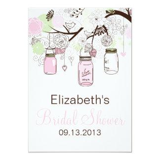 Niedliches rosa u. grünes Maurer-Glas-Brautparty 12,7 X 17,8 Cm Einladungskarte