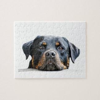 Niedliches Rottweiler   Hundezucht-Gesicht Puzzle