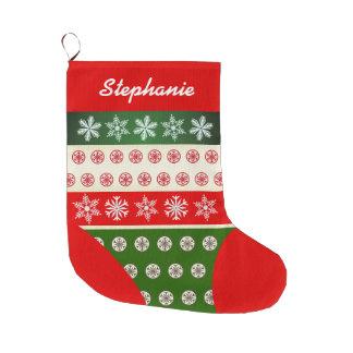 Niedliches Schneeflocke-Muster Großer Weihnachtsstrumpf