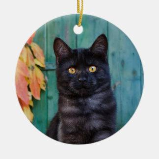 Niedliches schwarze Katzen-Kätzchen mit Rot Keramik Ornament