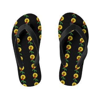 Niedliches Schwarzes mit Sonnenblume-Muster Kinderbadesandalen