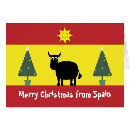 Niedliches spanisch stier flagge u weihnachtsbau - Weihnachtskarte spanisch ...