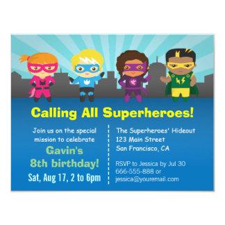 Niedliches Superhero-Geburtstags-Party scherzt 10,8 X 14 Cm Einladungskarte