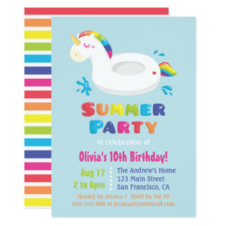 Niedliches Unicorn-Pool-Floss scherzt 11,4 X 15,9 Cm Einladungskarte