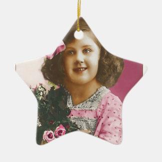 Niedliches Vintages Mädchen - personalisiert Keramik Stern-Ornament